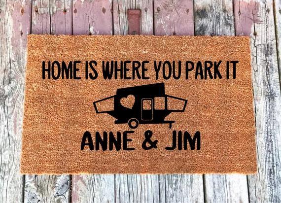HOME IS WHERE YOU PARK IT CARAVAN CLASSIC TRADITIONAL COIR DOOR FLOOR MAT