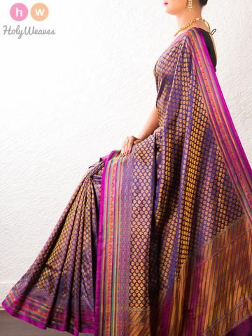 #Purple #Handwoven #Katan #Silk #Jamawar #Saree #HolyWeaves