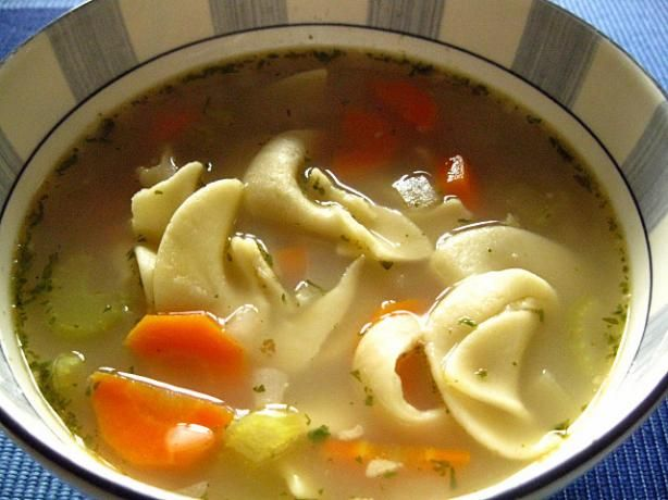 Turkey Soup for the Slow Cooker from Food.com:   								This is how I take care of the turkey carcass. But you can make this soup by following the directions and using 12 cups of chicken broth with 1/2 teaspoon of poulty seasoning. You can freeze the carcass and make the broth when convenient for you.