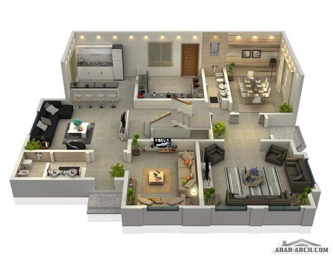 مخطط رائع لفيلا تصميم خليجى مميزة 3d غرف نوم 4 2 غرف نوم ماستر House Styles House Home