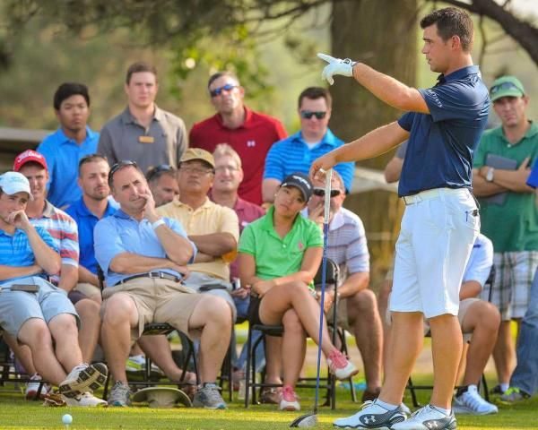 PGA Tour golfer and Topeka native Gary Woodland provides instruction during a clinic Monday at Alvamar Country Club in Lawrence.  REX WOLF/SPECIAL TO THE CAPITAL-JOURNAL