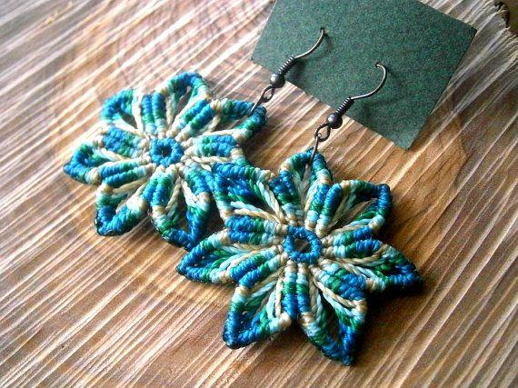 Macrame flower earrings/Macrame earrings/Macrame jewelry/Hippie chic/Bohemian earrings