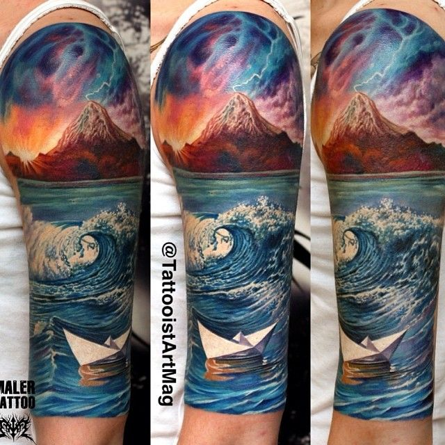 EPIC tattoo. Mountain (possible volcano), storm, sunrise/set, wave. Is this photoshop?
