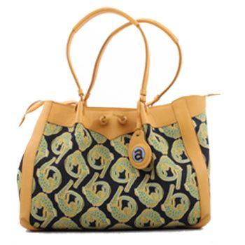 Ardmore Ceramics Fabric and Leather Handbags:Croco Lime Light