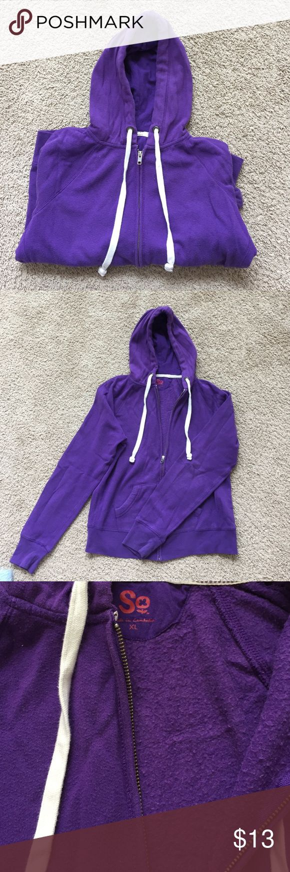 Purple Zip-Up Sweater Purple zip-up sweater with pockets and hood. Good condition. Size x-large, but can fit different sizes. Sweaters
