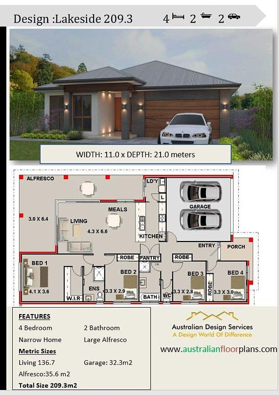 House Plan 209 Lake Side Sp Modern Style 4 Bedrooms
