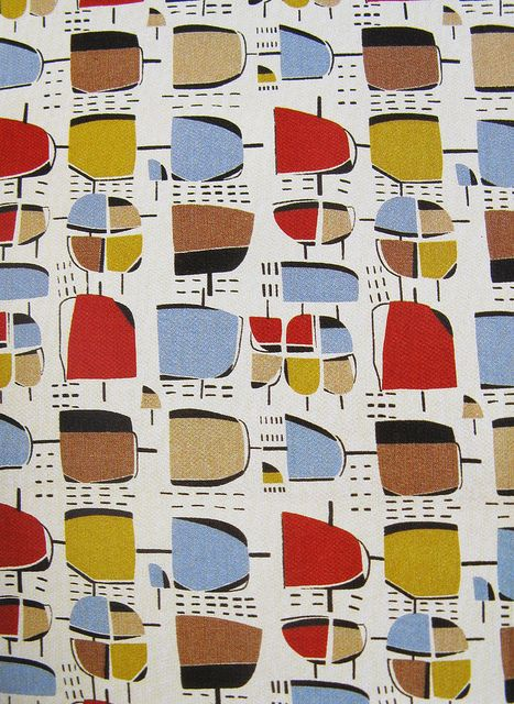 mid century fabric design by Henry Moore