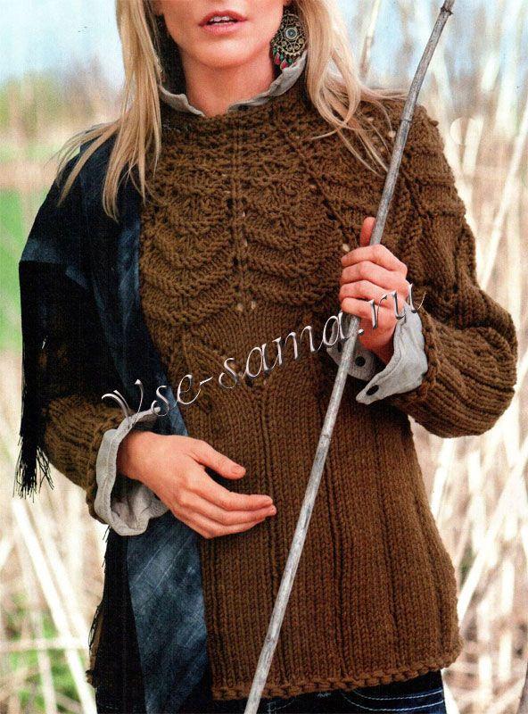 Длинный пуловер с круглой кокеткой. Обсуждение на LiveInternet - Российский…