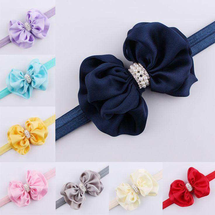 1 Pc Infant Baby Kids Girls Children Big Bowknot Rhinestone Elastic Headband Hairband Turban Knot Pearl Hair Bands Accessories