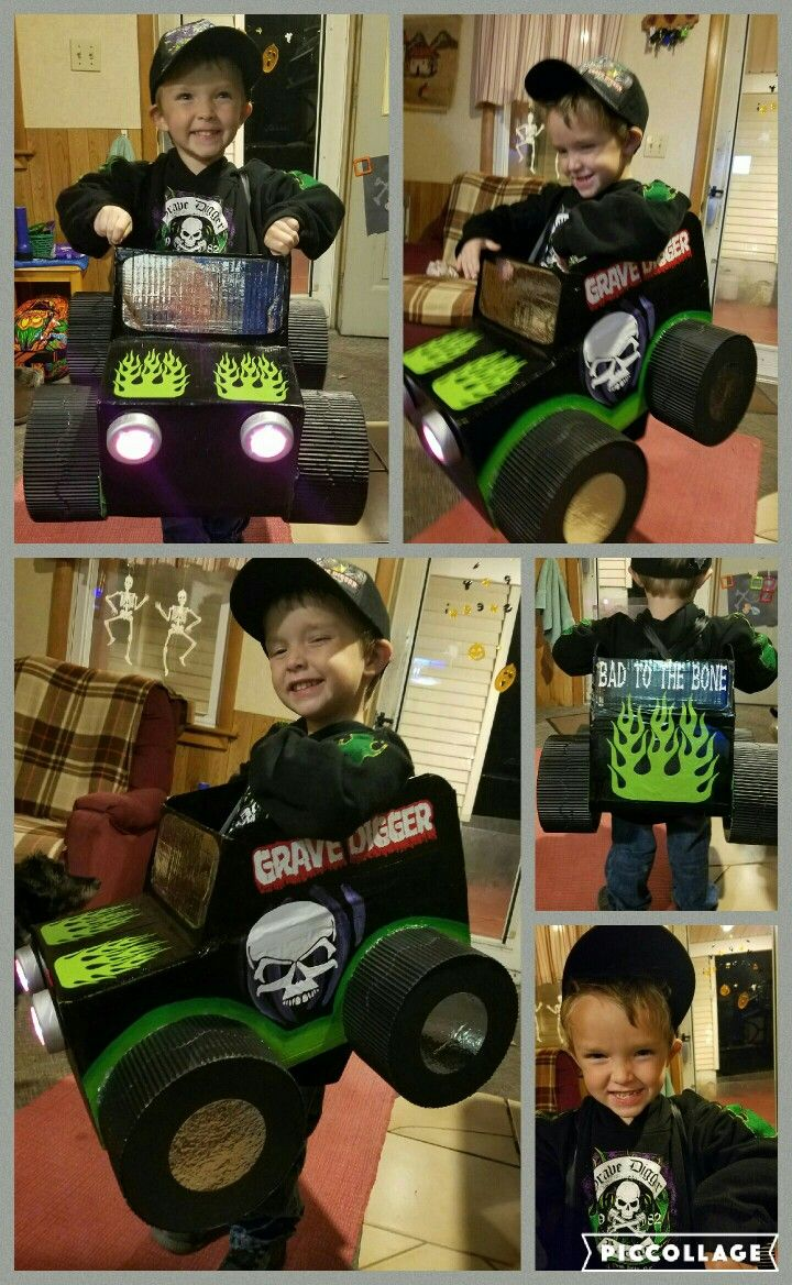 My son's monster truck halloween costume.  He wanted to be grave digger and that's what he got!  halloween, monster truck,  grave digger,  cool costume,  toddler costume, different