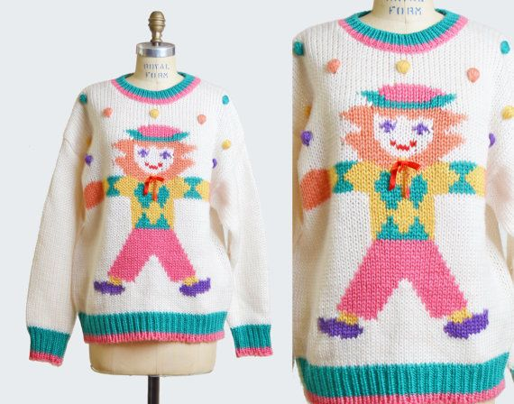 Vintage 80s 90s Dolly Graphic Sweater Pom Pom Top 1980s 1990s