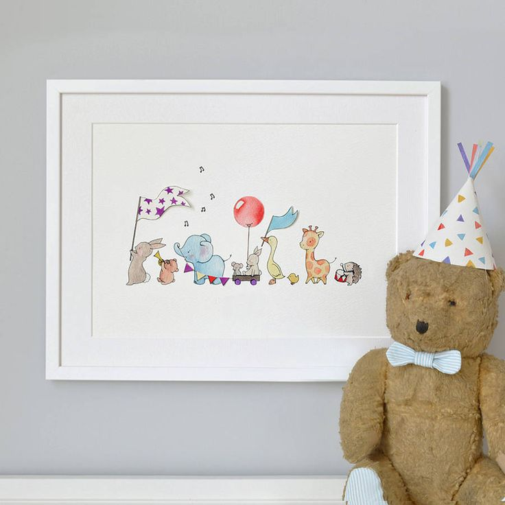 personalised animals on parade nursery print by daisy & bump nursery art   notonthehighstreet.com