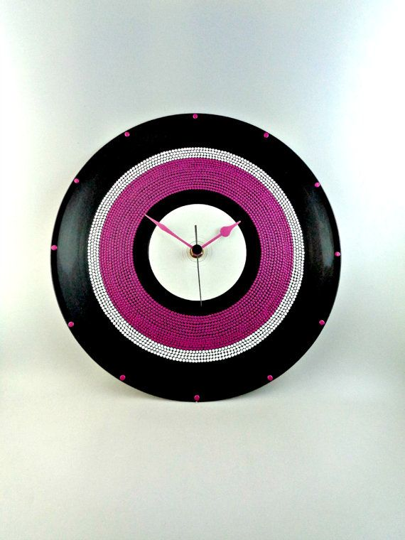 White&Pink Vinyl Clock Hand Painted Upcycled by InsaneDotting