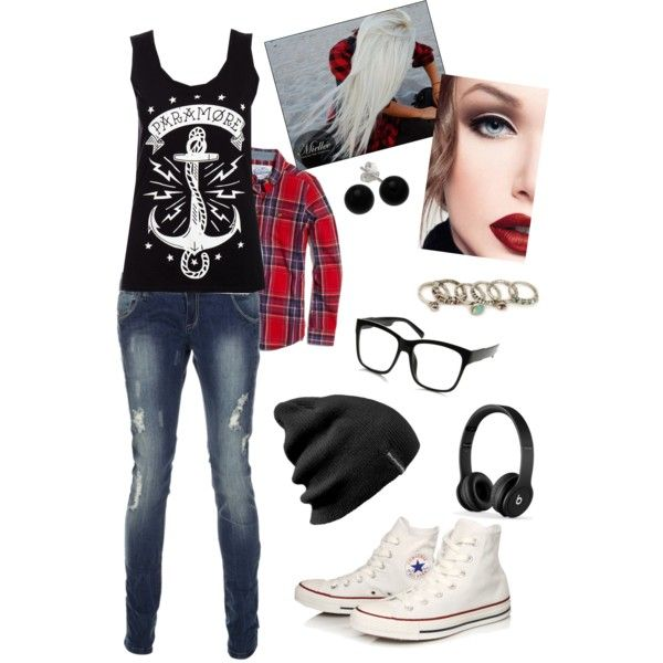 """Beach Skater Outfit"" by mandamariah on Polyvore  Flannel, White Converse High Tops, Nerd Glasses, Beanie.. Sounds like me!"