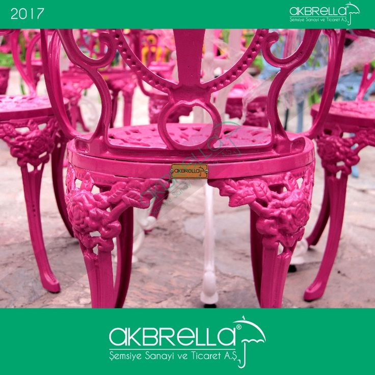 #bahçemobilyası @bahçemobilyaları Akbrella marka pembe alüminyum döküm sandalye logo etiket görüntüsü