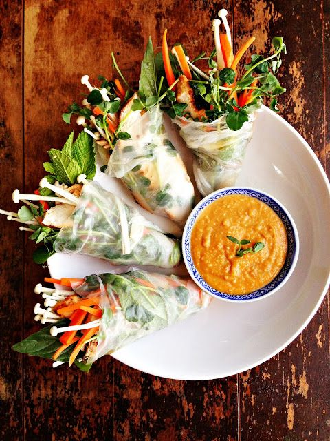 sweetsugarbean: Grilled Thai Turkey Salad Rolls with Enoki Mushrooms & Peanut Sauce
