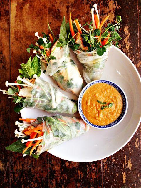 Grilled Thai Turkey Salad Rolls with Enoki Mushrooms & Peanut Sauce