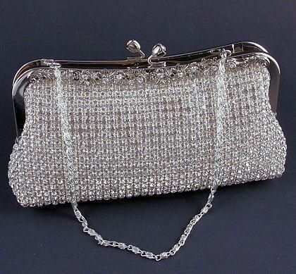 Silver Satin Clutch Purse with Austrian Rhinestones