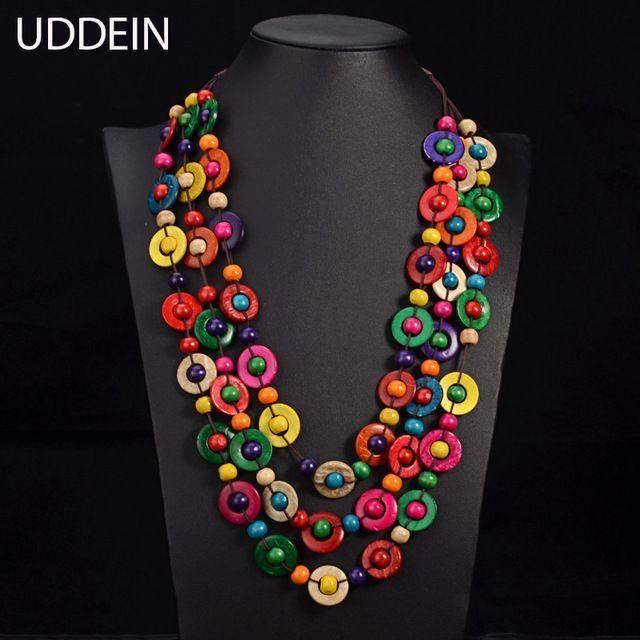 Uddein Богемия Этническая ожерелье и кулон multi Слои ювелирных изделий шариков Урожай себе длинное ожерелье женские из дерева ручной работы, ювелирные изделия