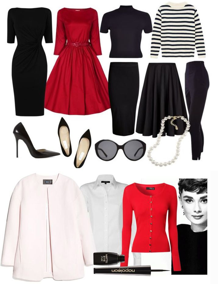 Audrey Hepburn Style Capsule Wardrobe, would do this but with royal blue or basically any color but red...