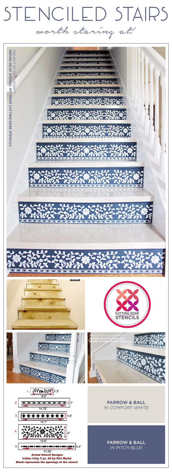 Cutting Edge Stencils shares how to stencil stair risers using the Indian Inlay Stencil Kit from Kim Myles. http://www.cuttingedgestencils.com/indian-inlay-stencil-furniture.html