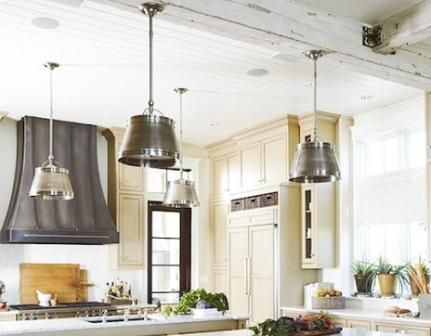 Erika McPherson Powell Urban Grace Interiors kitchen light fixtures and painted wood paneled ceiling