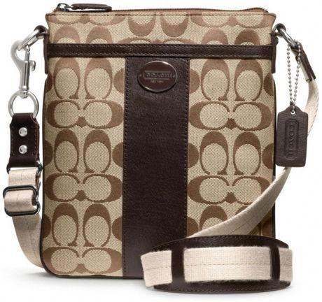 coach swingpack | Coach Legacy Signature Swingpack in Brown (silver/khaki/mahogany ...