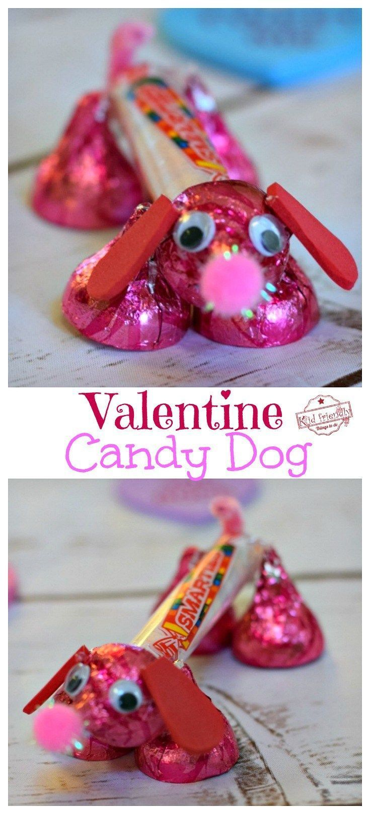 Make a Valentine's Candy Dog for a Fun Kid's Craft and Treat - Easy and Fun to Make! Made from Hershey's Kisses and Smarties Candy. So cute! #valentinesday