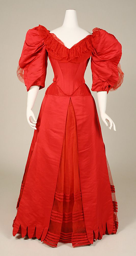 Dress (Ball Gown).  House of Worth (French, 1858–1956).  Date: ca. 1896. Culture: French. Medium: silk. Dimensions: Length at CB (a): 15 1/2 in. (39.4 cm). Length at CB (b): 48 1/2 in. (123.2 cm).