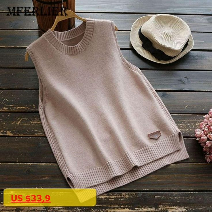 Mferlier Autumn Winter loose vest V neck knitted sleeveless sweater for women grey sweaters vests Pullover female waistcoat vest