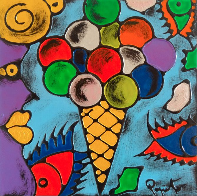 TENTAZIONI #10 - 40x40 cm. - Acrilic on canvas  #ICECREAM #TENTAZIONI #TEMPTATIONS