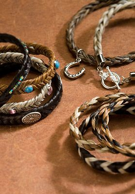 "Cowboy Collectibles horse hair bracelets. Made in Montana. And: ""Our horse hair comes from horses that have gone on to greener pastures. We are proud to honor these wonderful creatures by creating artwork out of their hair, a resource that might otherwise have been thrown away."":"