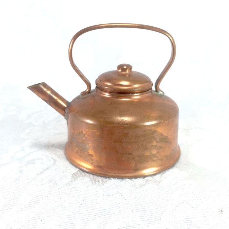 Vintage Copper Mini Miniature Tea Kettle Pot Teapot Metal