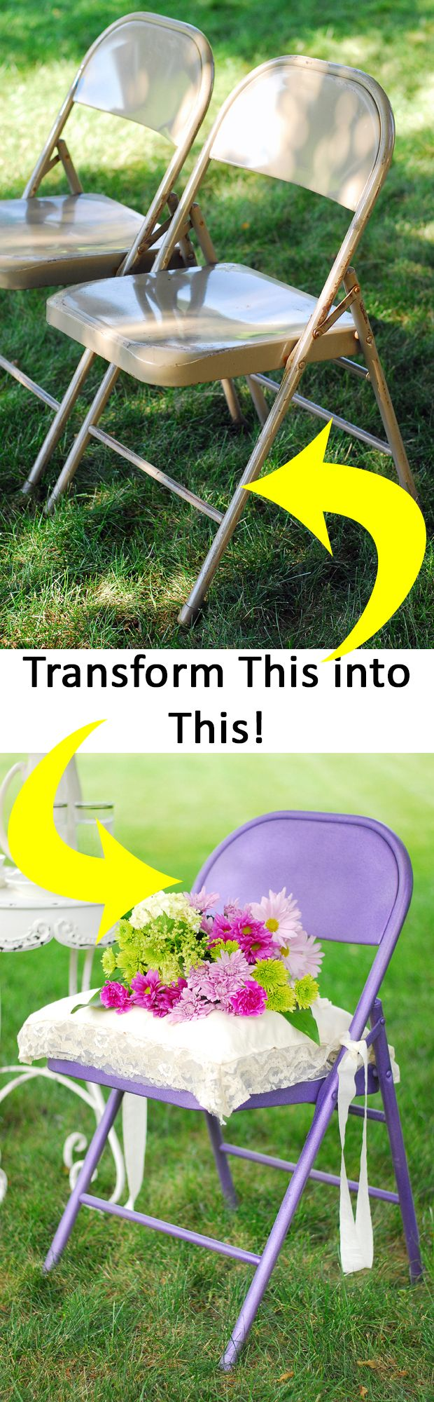Transform old, ugly metal folding chairs into updated, pretty seats with spray paint! Simple DIY.
