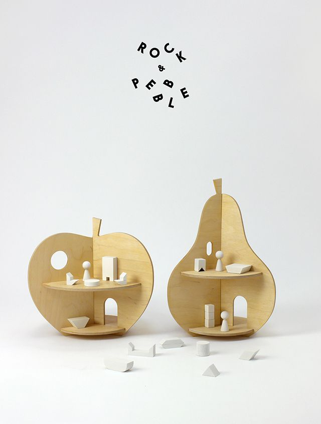 Apple and pear dollhouses from Rock & Pebble