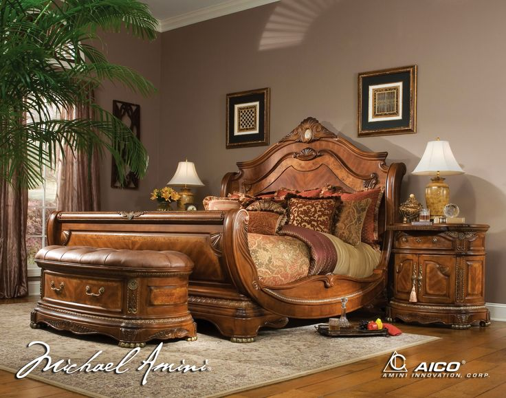 bed sets | ... Cortina California King Size Bed Bedroom Set in Honey Walnut Finish