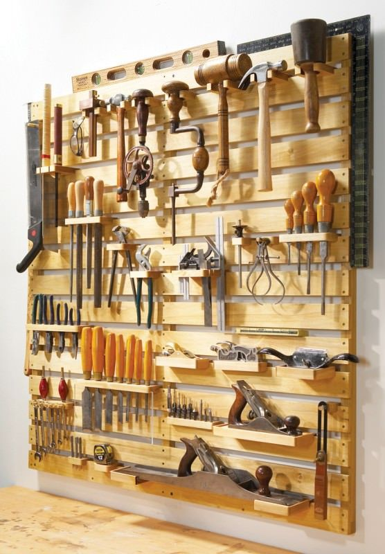 Hold-Everything Tool Rack Get organized fast with easy slat construction and versatile hangers. By David Pickard. ----- This story originally appeared in American Woodworker October/November 2008, issue #138.