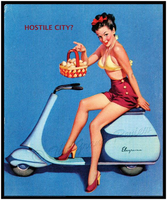 Vintage Philadelphia Scooter Print - Elvgren Pinup - Scooter Club From The Grand Review!