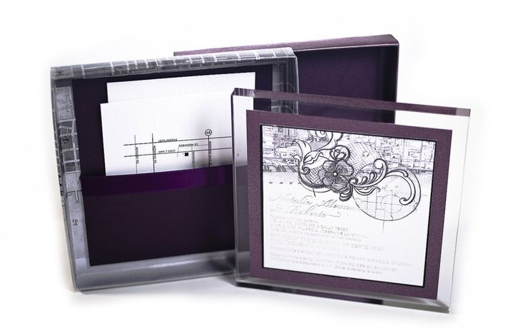 Gorgeous urban-inspired lucite and foil press wedding invitation, in purple, white, silver and swarovski. Inspired by vintage Toronto and contemporary design. www.palettera.ca