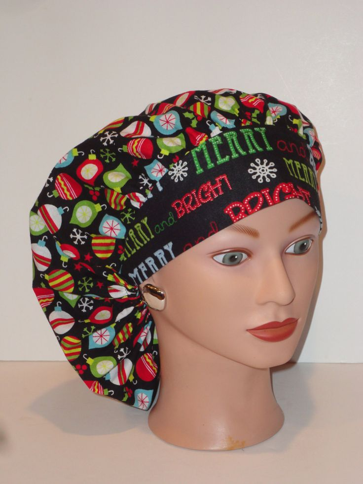 Perfect Sized Bouffant Scrub Cap... Christmas...Merry and Bright Ornaments...OR Scrub Cap/Surgical Scrub Caps by TwoSew on Etsy