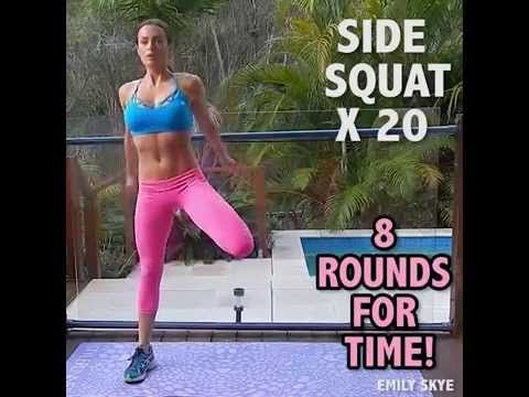 Emily Skye Home Workout I like these exercises but I do the squats the regular way