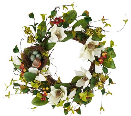 Spring has sprung and this lovely wreath from Valerie Parr Hill is a perfect way to celebrate the warmer weather. Realistic magnolia blossoms, berries, and greenery are joined by a sweet nest with a lifelike robin and eggs. From the Valerie Parr Hill Collection. QVC.com
