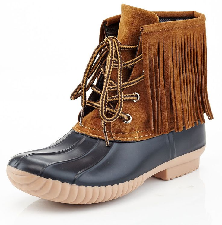 Fringe trim lends a touch of boho chic to these classic duck boots