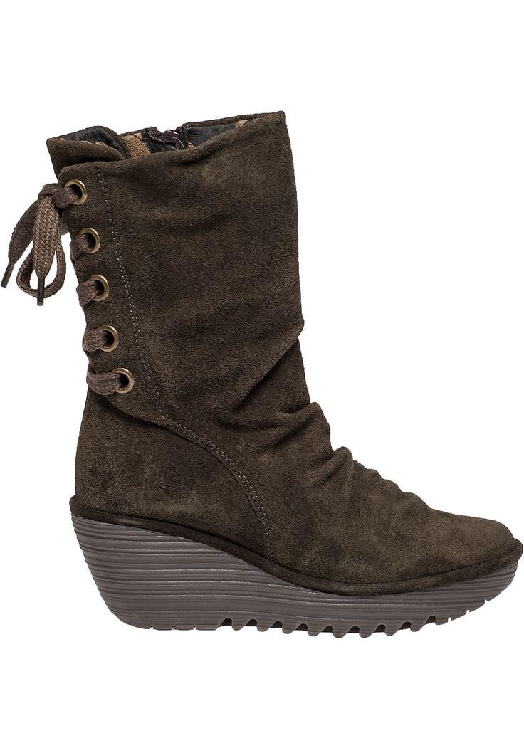 Fly london Yada Suede Boots  in Khaki (Sludge Suede)