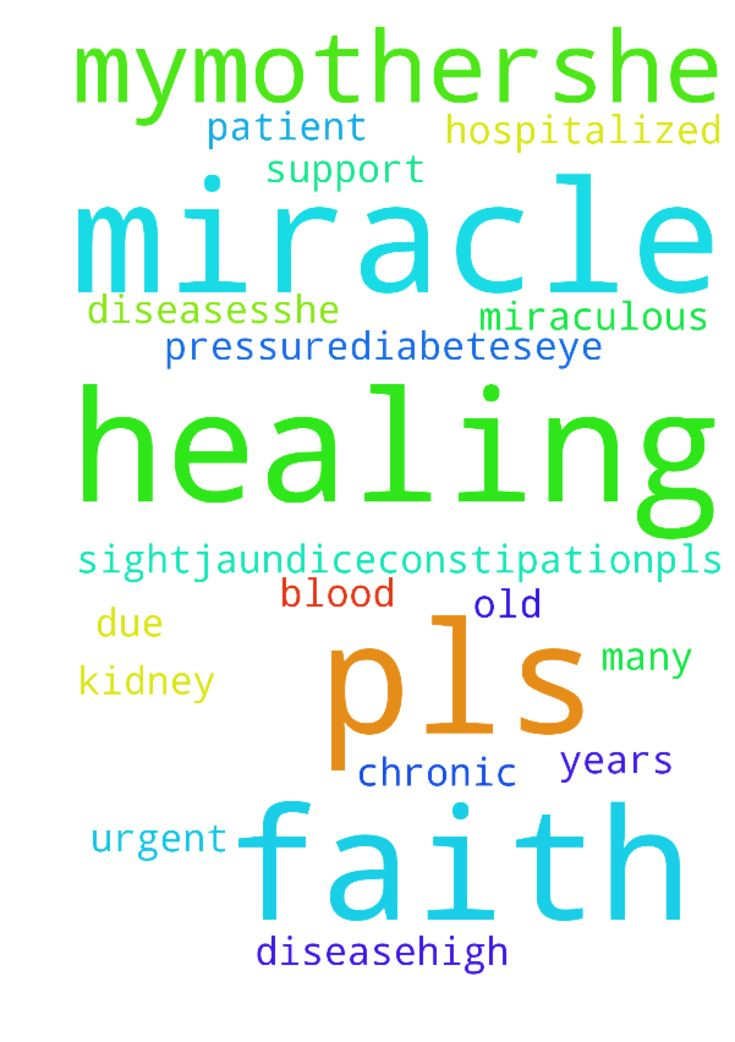 healing -   Pls pray for miraculous healing of my�mother..she is 65 years old and is hospitalized due to many diseases..she is a patient of chronic kidney disease..high blood pressure..diabetes...eye sight..jaundice...constipation...pls do pray for �a miracle. I have faith that by faith and your prayer support God can do miracle.. pls its urgent.   Posted at: https://prayerrequest.com/t/5iX #pray #prayer #request #prayerrequest