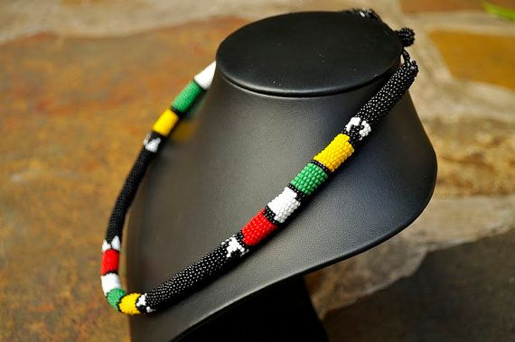 Black Beaded necklace and headpieceAfrican by akwaabaAfrica