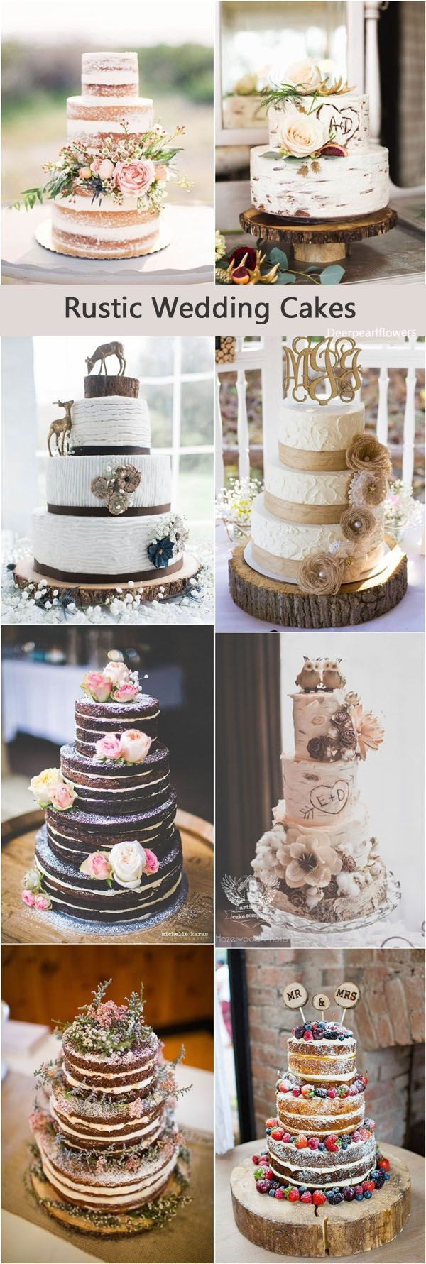 Rustic country wedding cakes / http://www.deerpearlflowers.com/rustic-wedding-details-and-ideas/2/