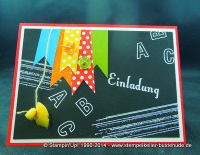 Einladung Einschulung Embossing Stampin Up Polka Dots