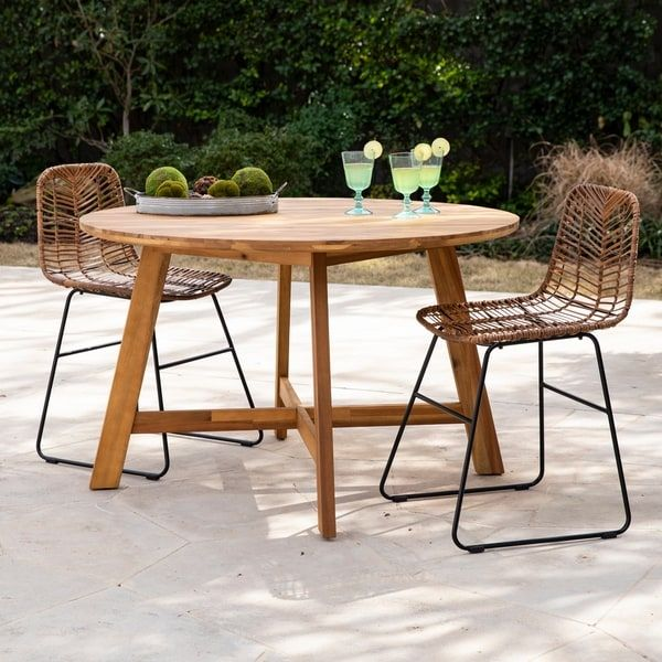 Havenside Home Abigail Contemporary Natural Wood Outdoor Dining
