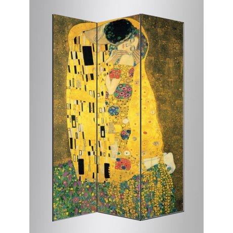 The kiss , Gustav Klimt,πτυσσόμενο διαχωριστικό ( Παραβάν)